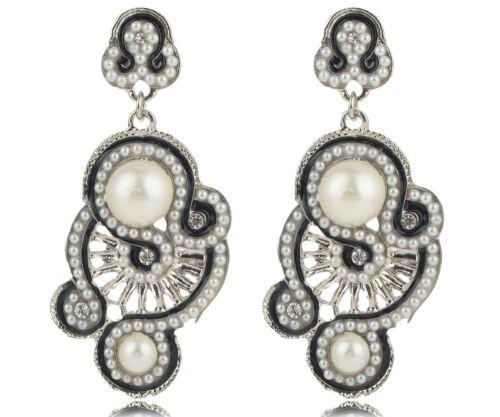 1 Paire élégant blanc cristal Strass Ear Drop Dangle Stud Long Boucles D/'oreilles 53