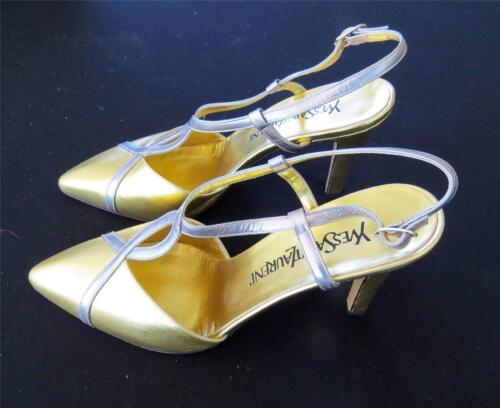 Vintage 604mS Designer Yves Saint Laurent or Chaussures Cuir à Talon Haut Taille