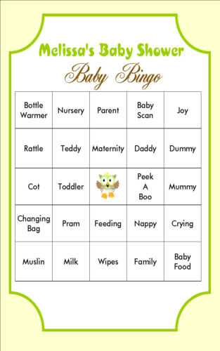 Personalised Baby Shower Bingo GameOWLSSelect your Sheet Qty