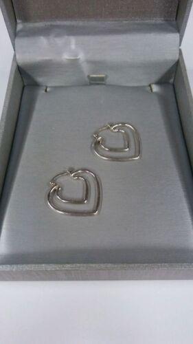 Argent Sterling Coeur Forme Boucles d'oreilles 4.5 g Large 3/4