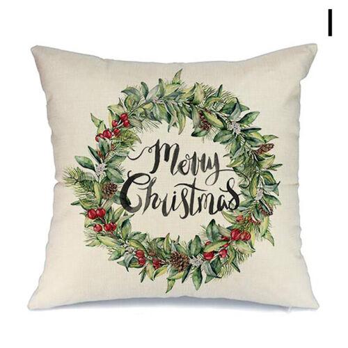 """18/"""" Merry Christmas Santa Claus Pillow Cases Linen Sofa Cushion Cover Home Decor"""
