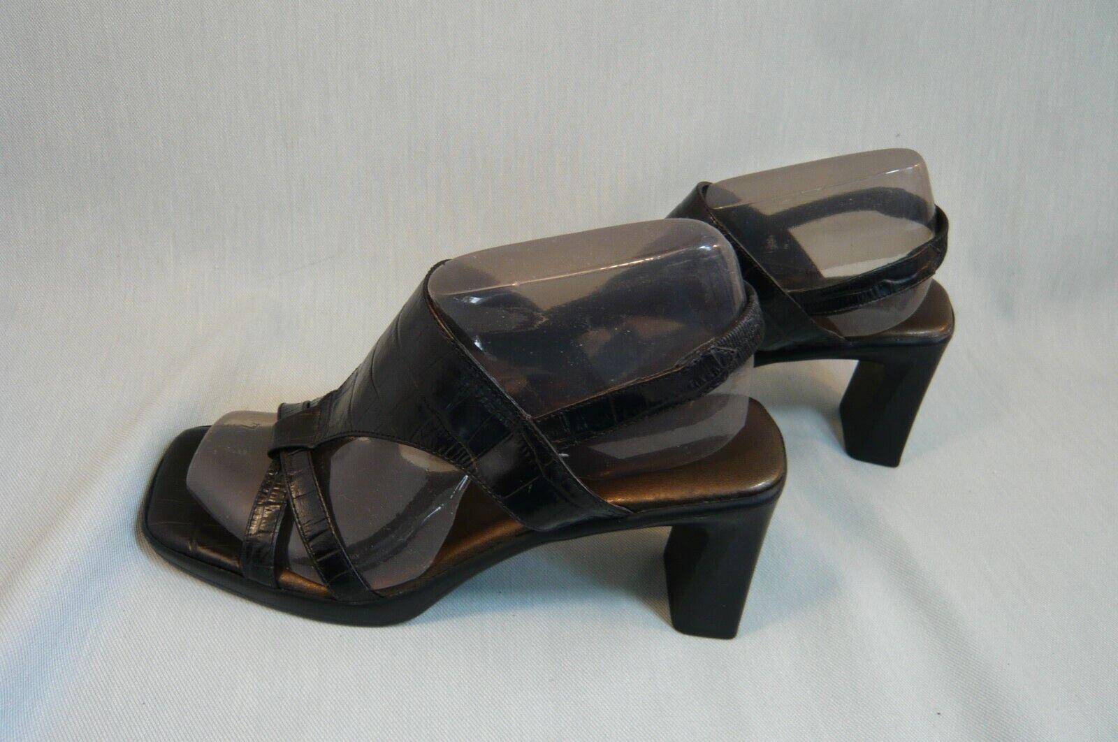 AEROSOLES CHUNKY HEEL SANDALS-Size 5 1/2 B-Black Croc Look-Heels about 2 3/4