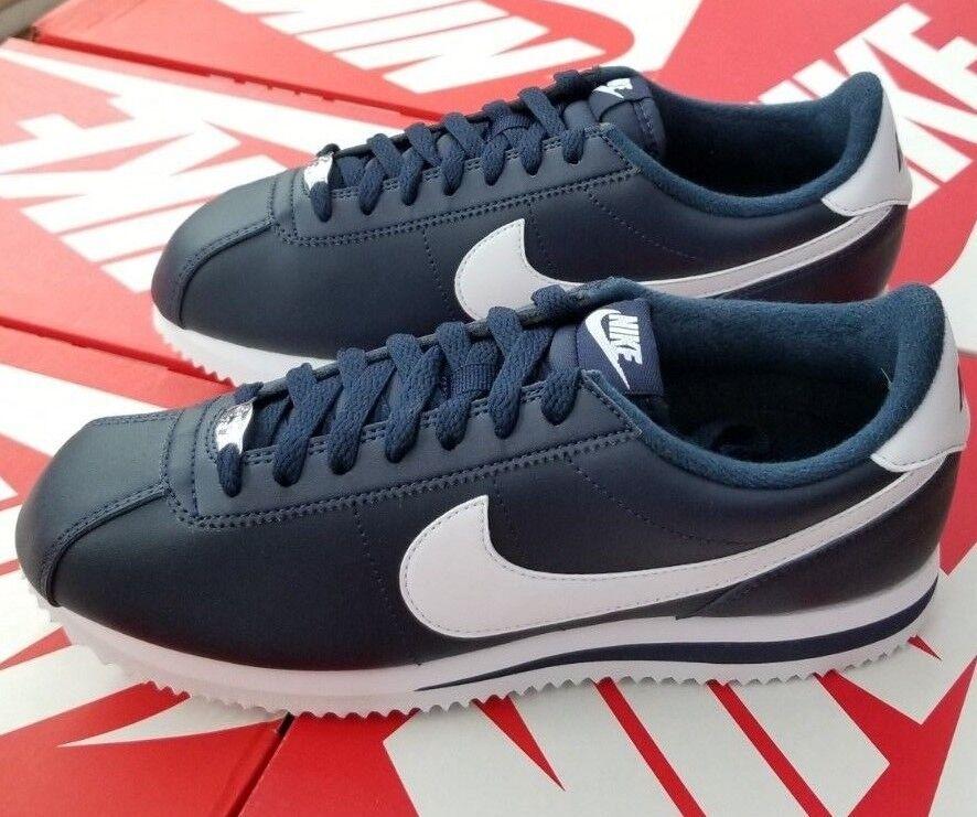 sports shoes 4fe62 8d014 NIKE CORTEZ BASIC LEATHER MEN S OBSIDIAN WHITE 819719 410