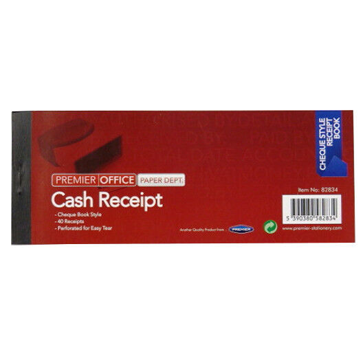 2 X Cash Receipt Books Wide Cheque Book Style 40 Receipts Sales Record Pads