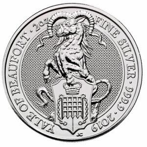 2019-Britain-2-oz-Silver-Queen-039-s-Beasts-Yale-of-Beaufort-5-Coin-GEM-BU-SKU57311