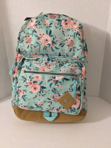 No Boundaries Mint Green and Pink Floral Faux Suede Bottom Backpack NWT