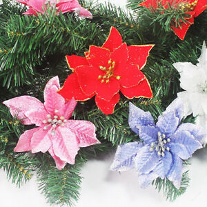 image is loading 1pc poinsettia christmas ornaments festival party tree hanging - Flower Christmas Ornaments