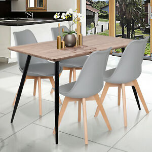 120cm Retro Dining Table And 4 Tulip Padded Seat Chairs Set Wood Study Desk Grey Ebay