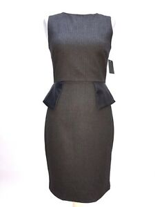 Faux Pencil Dress Grey Pinstripe Small About Size Details Peplum Zara Leather R3Aq45jL