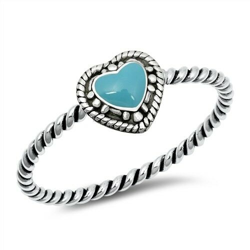 Heart Ring Genuine Sterling Silver 925 Turquoise Selectable Face Height 6 mm