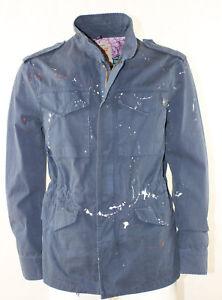 Tasche Blue Giubbino Cotone Uomo Bob Jeans Company Nuova Ricamata Pittura Army wnnqR87aO