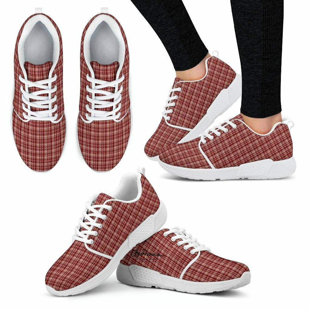 Maroon Beige Tight Tight Beige Plaid Athletic Sneakers 7deb3a