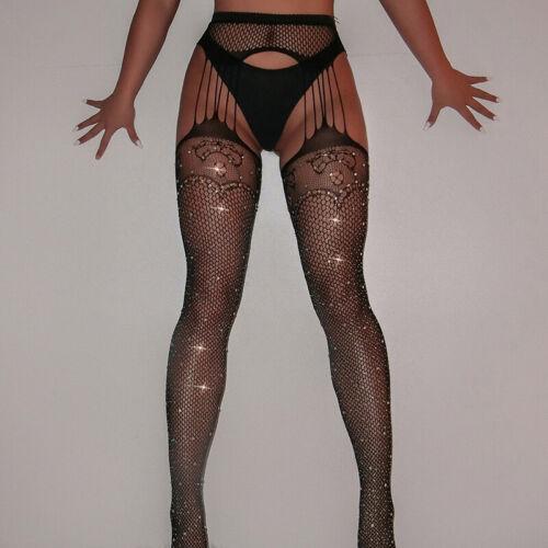 Women Glitter Rhinestone Fishnet Mesh Crotchless Stockings Tight Pantyhose Black