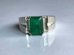 925-Sterling-Silver-Natural-Colombian-Emerald-Octagun-Shape-Men-Ring