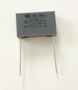 1 condensateur à fils isolés MKP X2 230V 0.47µF 470nF 474K 474 K 275Vac 22,5mm