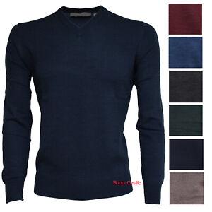 Maglione uomo maniche lunghe pullover lana scollo V casual maglia nuovo M-002