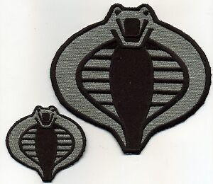 """GI Joe Cobra Commander Small 3/"""" Silver /& Navy Blue Embroided Iron-On Patch"""