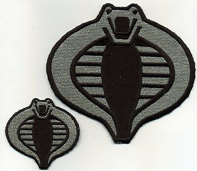 """GI Joe Cobra Commander Officer Large 6/"""" Silver//Black Embroidered Iron-On Patch"""