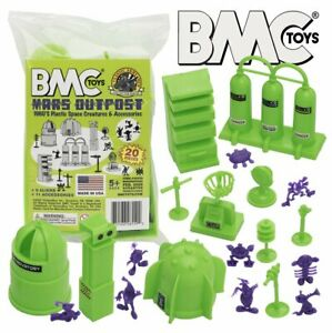 BMC-Classic-Sci-Fi-Mars-Outpost-20pc-Plastic-Army-Men-Space-Accessory-Playset