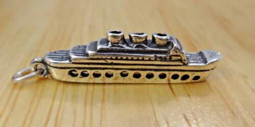 Sterling Silver 3D 27x7mm navire de croisière dit Queen Mary Charm