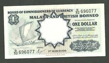 1959 Malaya and British Borneo 1 Dollar Currency Note Pick 8A Paper Money One