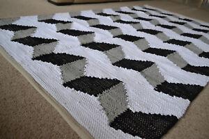Cotton Rug Large Black Grey White