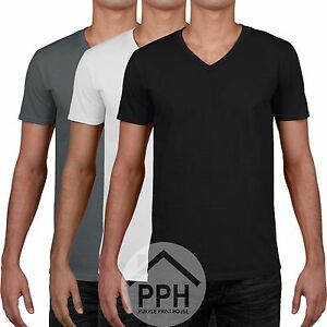 Gildan SoftStyle Plain Cotton Mens T-shirt Adult Casual Work V-Neck Top Tshirt
