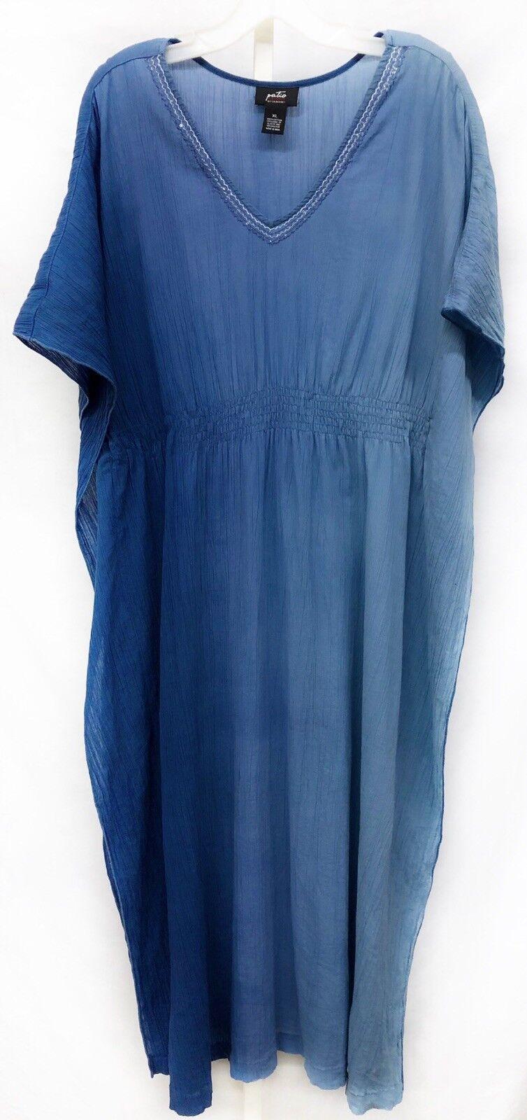 Patio Casuals Sz XL Cabernet bluee Hombre Tie Dye Maxi Caftan Muu House Dress