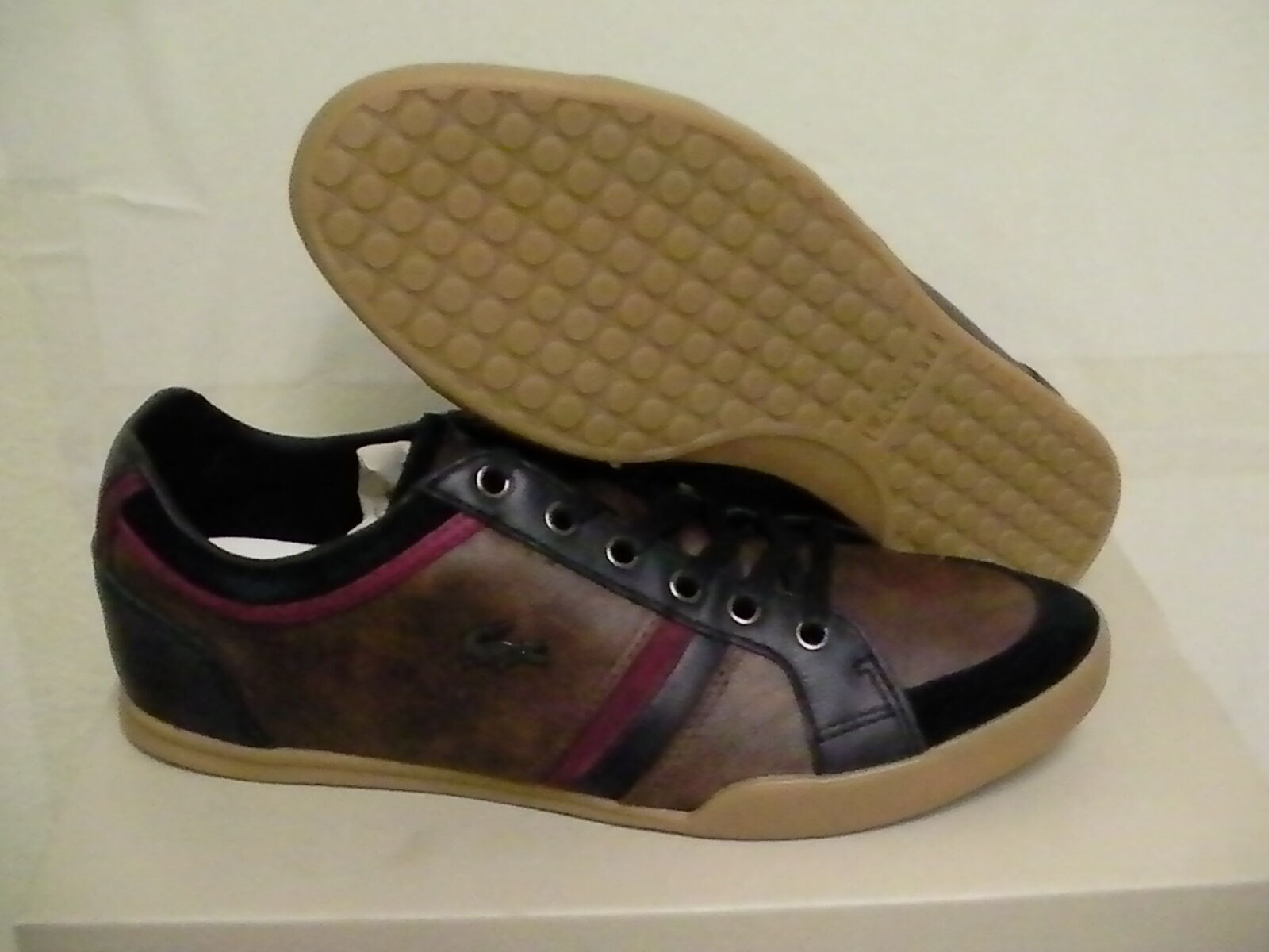 Lacoste casual shoes rayford 3 spm DK brown/DK red/ blak leather/suede size 7 us