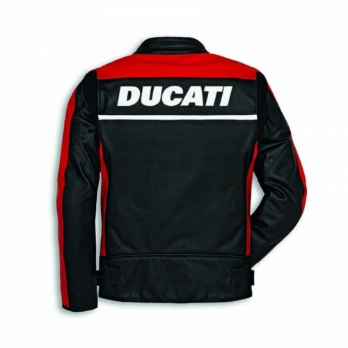 Ducati Racing Motorbike jacket Pure Cow Hide Leather//Ce Approved Protectors