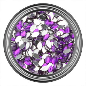 Dark-Purple-Oval-Rhinestone-Gems-Flatback-Face-Art-Nail-Art-Scrapbook-Phone-3mm