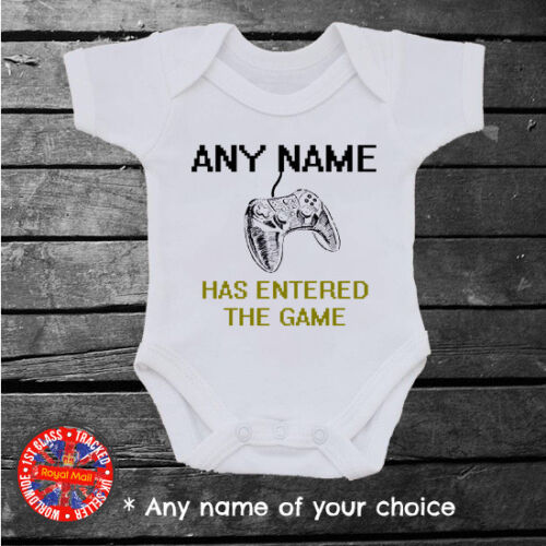Any Name Personalised Player Control Baby Grow XBOX /& Playstation Inspired