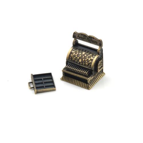 Dollhouse Miniature Accessories Vintage Metal Cash Register Furniture FBDU