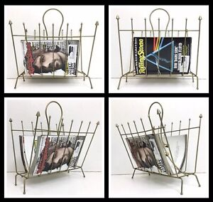 Rare-Style-Mid-Century-Modern-Space-Age-Metal-Magazine-Tablet-Rack-Holder