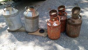 2 Pre-1939 The Texas Co 10 Gal Gas Cans & 3-Early 1900 Ellisco Co 5 Gal Gas Cans