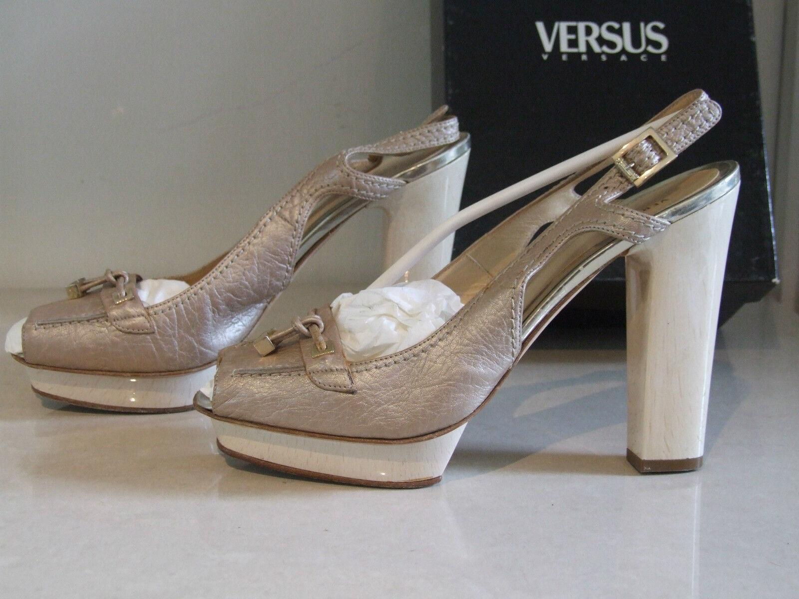 Versace  41Stunning Leder Beige High Wedge Heel Peep Toe Slingback Schuhes