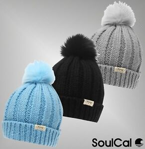 WOMENS LADIES FIRETRAP THICK CHUNK CABLE KNIT KNITTED BOBBLE BEANIE POM POM HAT