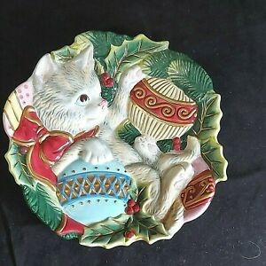 """Vintage Fitz & Floyd Serving Plate Kitten With Christmas Ornament 9"""" Preowned"""