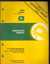 John Deere Operators Manual 8850 Tractors