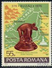 1976 Wolf statue,4th Century,Buzau city 1600th anniv,map,Romania,Mi.3364,MNH
