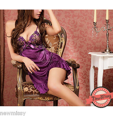 Sexy Purple Silky Lace Chemise Nightie Nightwear Lingerie Nightdress Sleepwear S