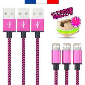 CABLE-POUR-IPHONE-7-6-5-PLUS-IPAD-IPOD-CHARGEUR-USB-METAL-RENFORCE-ROSE-1M-2M-3M