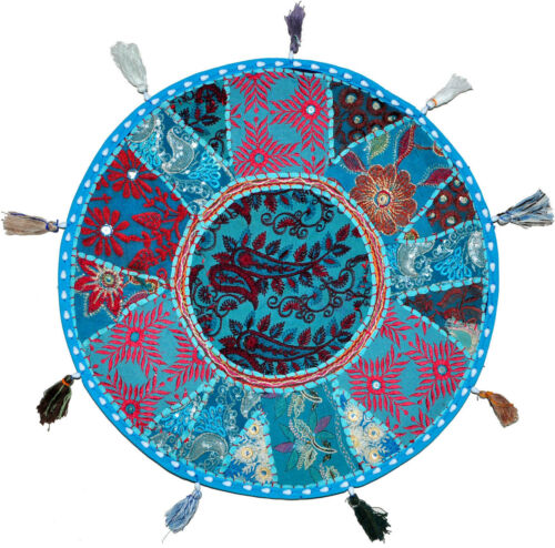 "Blue XL 32/"" Big Round Floor Pillow Cushion Bohemian poufs For Diwali Decoration"