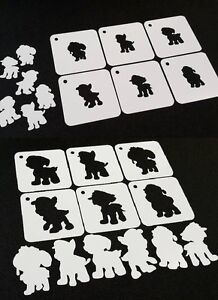 Set of 6pcs PAW PATROL Style Silhouette Stencils 2 Different Sizes ...