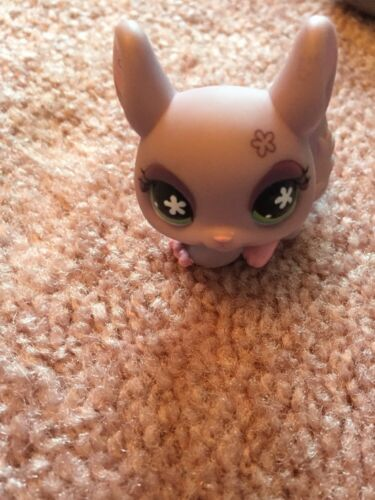 Littlest Pet Shop LPS Purple Chinchilla Green Flower Eyes Hasbro