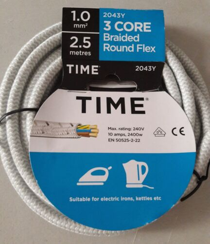 Iron Cable 3 core Flex round braided kettle cable 2043Y 1mm 2.5m replacement