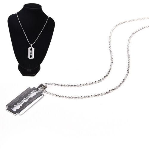Men Favorite Stainless Steel Razor Blade Pendant Fashion Ball FFhain Necklace VG
