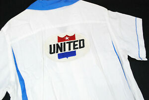 Vintage 50s Hilton United Air Lines Bowling Shirt Rayon Herren M Uniform Top Loop