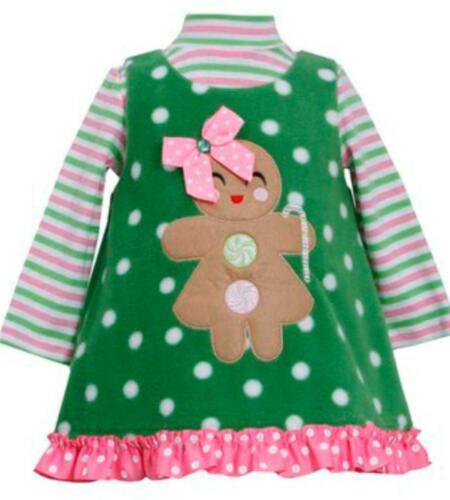 Bonnie Jean Baby Girls Gingerbread Man Christmas Holiday Fleece Jumper Dress