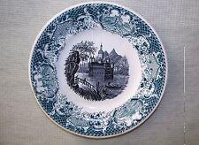 "AS IS antique German plate transferware green black water castle boat AMBERG 7"""